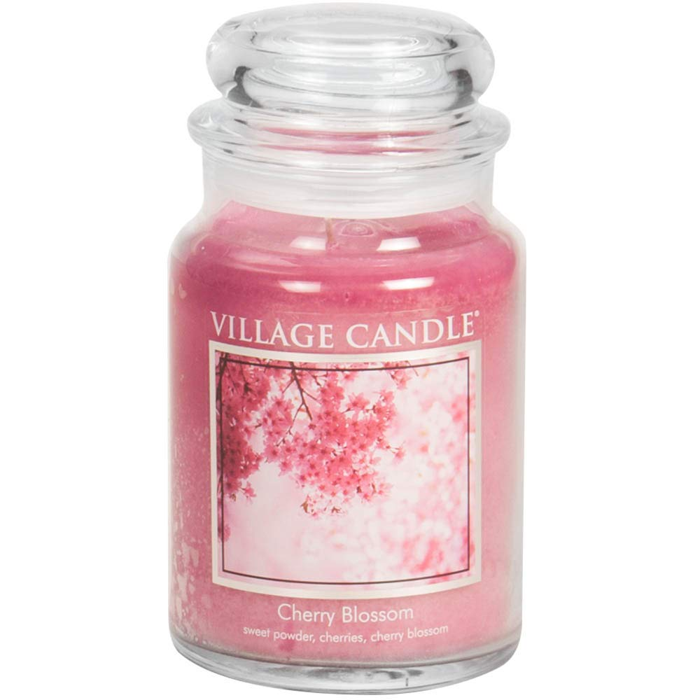 Village Candle Cherry Blossom 26 oz Glass Jar Scented Candle, Large