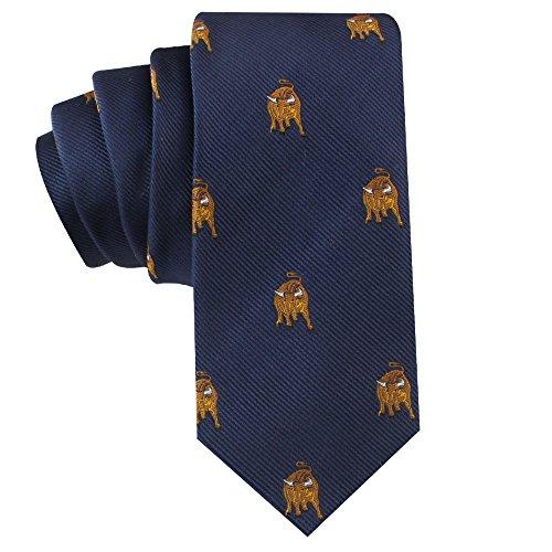 Bull Tie Mens Necktie Animal Tie | Wolf of Wall Street Bull Gift for Him | Groomsmen Wedding Ties | Bull Market | Birthday Gift for Guys (Bronze Bull)