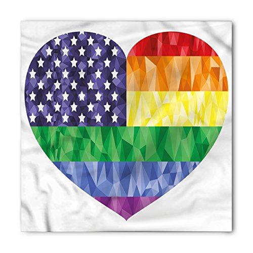 Heart Flag Bib - Ambesonne Unisex Bandana, Pride Heart Gay Flag Rainbow Art, Blue Green