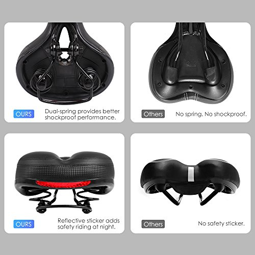 Puroma Bicycle Saddle Dual Spring Designed Suspension Shock Absorbing, Leather Bike Seat Pad Mounting Wrench Waterproof Protection Bike Seat Cover by Puroma (Image #3)