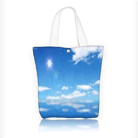 Amazon.com: Bolso de lona con cremallera impreso azul cielo ...