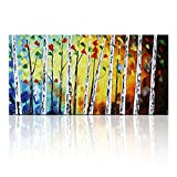 Hand Paintings for Living Room, 100% Hand Painted Modern Blue Palm Forest Acrylic Oil Paintings, Contemporary Artwork Wall Art for Home Decor, 24X48 Inches