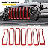 new 7PCS Front Grille Grill Insert Cover Trim For 2018 2019 for Jeep Wrangler JL Rubicon
