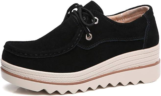 EnllerviiD Women Slip On Suede Moccasins Wide Outdoor Platform Heel Loafer Shoes