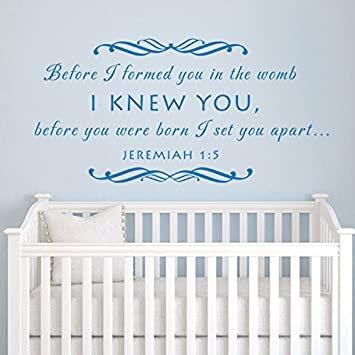 Before I formed you JEREMIAH 16 Nursery Wall Decal Vinyl Nursery Quote Bible Wall  sc 1 st  Amazon.com & Amazon.com: Before I formed you JEREMIAH 1:6 Nursery Wall Decal ...