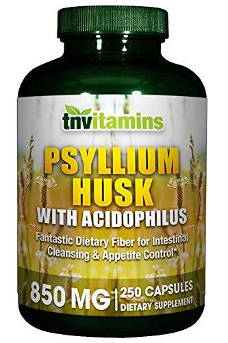TNVitamins Psyllium Husk (250 Capsules) 850 Mg w/Acidophilus High Potency For Sale