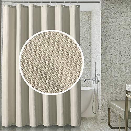 Sunlovo Tan Waffle Shower Curtain,Water-Repellent Diamond Weave Bathroom Curtain with Rust-Resistant Metal Grommets Top for Bathroom,72