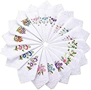 18 Ladies Flower Embroidered with Lace Cotton Handkerchief Colored Embroidered Cotton Handkerchiefs for Women