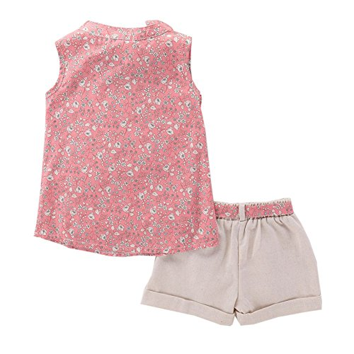 Soly Tech Kids Girl 2 Pieces Outfits Sleeveless Floral Print Tank Top Vest and Belt Shorts by Soly Tech (Image #1)