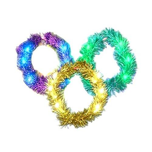 Shiny Mardi Gras Led Light Up Flashing Lei Necklace (Purple)