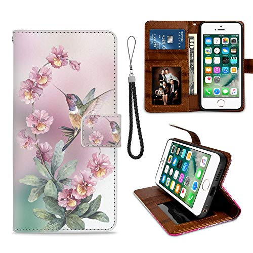 iPhone 6 Plus Wallet Case, iPhone 6S Plus Phone Wallet Case Hummingbird TPU Leather Flip Cover with Card Slot Wallet Case for iPhone 6/6S Plus (Hummingbird Iphone 6 Plus Case)
