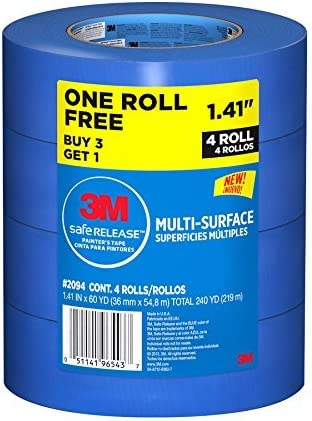 3M Safe-Release Multi-Surface Painters Tapes Total 4 Rolls 1.41 IN x 60 YD each Roll