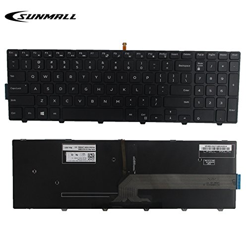 SUNMALL New laptop Notebook Replacement Keyboard with backlit for Dell Inspiron 15 3000 3541 3542 3552 5000 5547 Black US Layout(6 Months Warranty)