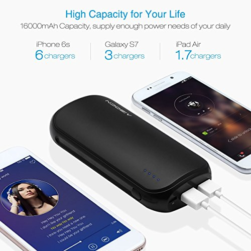 Aibocn 16000mAh power Bank using 42A production two times USB Ports substantial swiftness Charging for iPhone Samsung Galaxy Tablets and additional Black International Chargers