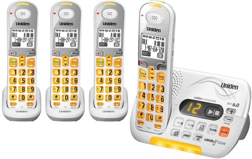 Uniden DECT 6.0 Cordless Phone with Caller ID Answering System and 3 Additional DCX 309 Handsets - White (D3097-4) (Uniden D1680 Cordless Phone)