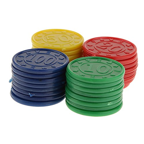 Flameer 32 Plastic Poker Chips RED Green Blue Yellow Easy Stacking Washable