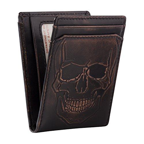 HOJ Co. SKULL ID Bifold Front Pocket Wallet-Full Grain Leather-Money Clip - Wallets Men Leather For Skull