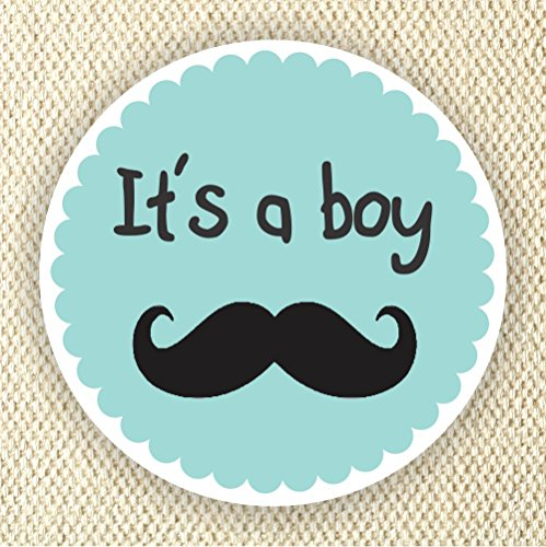 Baby Boy Shower Stickers - It's a Boy Stickers - Favor Stickers - Baby Shower Favor Stickers - Baby Mustache Stickers - Set of 40 stickers from Philly Art & Crafts