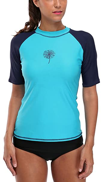 finest selection a8a2f 36856 Attraco Damen Schwimmshirt Kurzarm UV Shirt Rash Guard Badeshirt UPF 50+