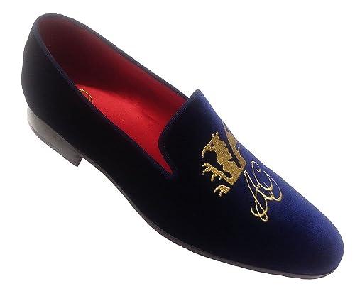 Garofalo Gianbattista - Mocasines de Terciopelo para Hombre Azul Azul Oscuro: Amazon.es: Zapatos y complementos
