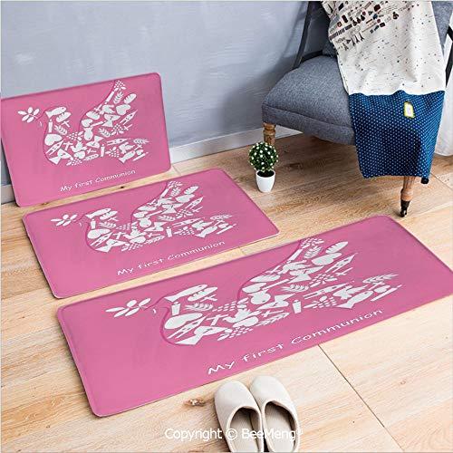 (3 Piece Water Uptake Indoor Modern Anti-Skid Cartoon Carpet,Baptism,First Communion Pigeon with Olive Branch Shape Sacrifice Saint Spiritual Illustration,Pink White,16x24/16x39/18x45)