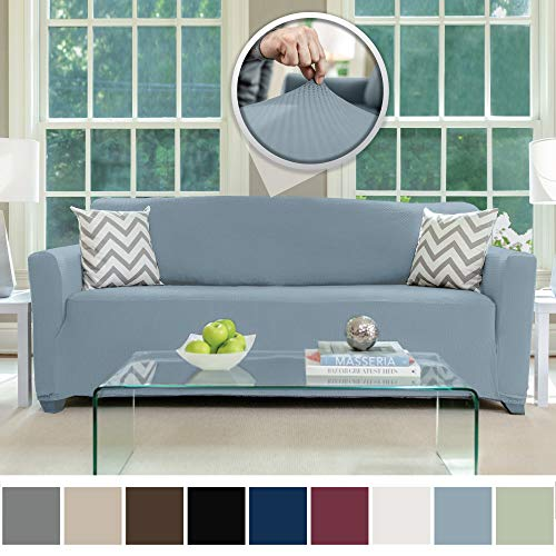 Sofa Shield Original Fitted 1 Piece Sofa Slipcover, Soft Stretch Material, Seat Width Up to 70 Inch Furniture Protector, Washable Couch Covers, Spandex Fit Slip Cover, Pets, Kids, Sofa, Denim Blue