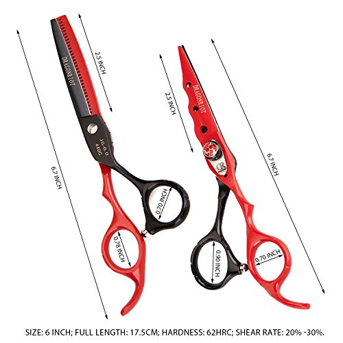 Professional Haircut Scissors Barber Hair Shears 6 Inch Stainless Steel Razor Edge Thinning Set and Fine Adjustment Screw Fit Hairdresser Family Shears by Dragon (Image #1)