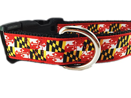 CANINEDESIGN QUALITY DOG COLLARS Caninedesign, Maryland Dog Collar, 1 inch, nylon, side release buckle, adjustable, Medium 13-19 inches