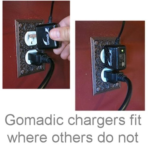 Gomadic Intelligent Compact AC Home Wall Charger suitable for the Olympus VG-140 - High output power with a convenient, foldable plug design - Uses TipExchange Technology by Gomadic (Image #4)