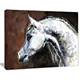 Designart PT13288-20-12 Gray Arabian Horse Watercolor Animal Wall Art Print,White,20x12