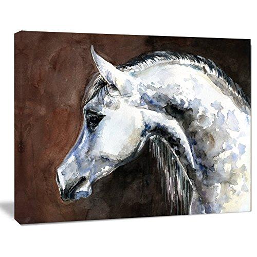 Designart PT13288-20-12 Gray Arabian Horse Watercolor Animal Wall Art Print,White,20x12 by Design Art