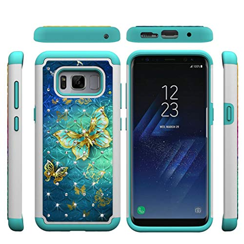 Firefish Galaxy S8 Case,Durable Slim 2 in 1 Hybrid Case Hard PC Back Cover with Creative Pattern & Point Drill Inner Soft TPU Bumper Anti-Scratch Case Compatible with Samsung Galaxy S8 -Butterfly B