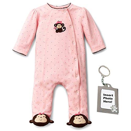 Little Me Pretty Monkey Animal Feet Sleep N Play and Keychain Pink (Animal Sleeper)