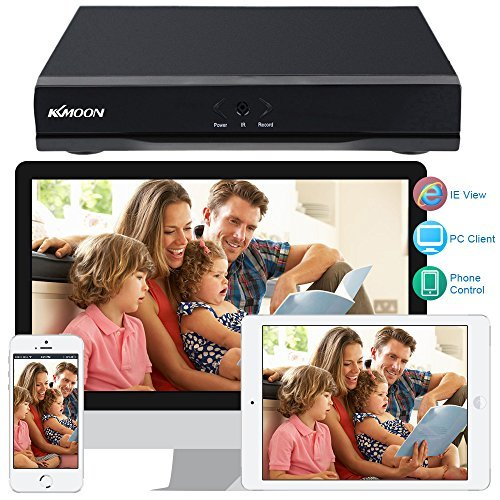 KKmoon 4 Channel Full 1080N 720P AHD DVR HVR NVR HDMI P2P Cloud Network Onvif Digital Video Recorder 1TB Hard Disk Support Plug and Play CMS Browser View Motion Detection Email Alarm PTZ