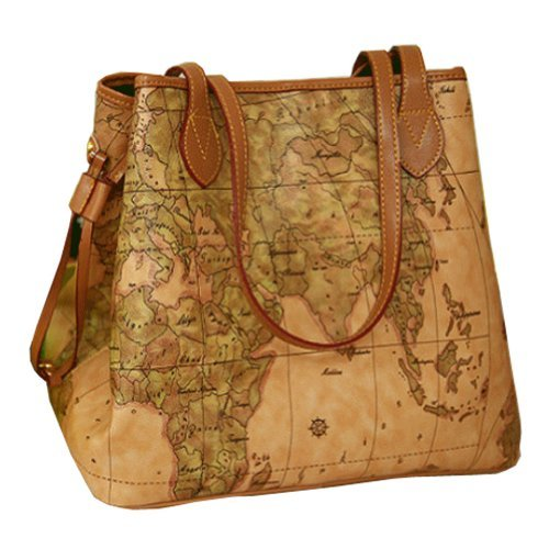 Buenocn Vintage Style World Map Faux Leather Handbag Shoulder Bag Shy015 - Style World Map