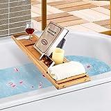 BOSSJOY Luxury Wood Bamboo Bathtub Bath Tub Caddy