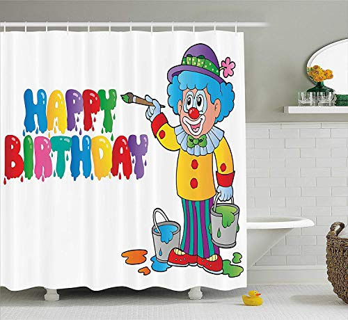 Afagahahs Birthday Decorations for Kids Shower Curtain Happy Clown for Party with Colorful Paint Drawing Buckets Fabric Bathroom Decor Set with Hooks