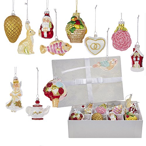the glass ornaments are beautifully detailed and look special in any christmas tree the set includes various ornaments sized from 25 to 4