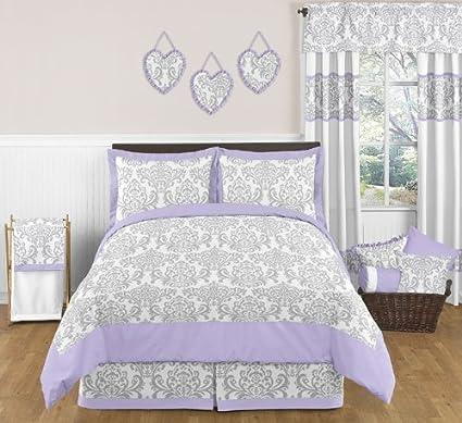 Amazoncom Sweet Jojo Designs 3 Piece Lavender Gray White Elizabeth