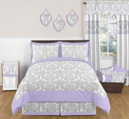 -Piece Lavender Gray White Elizabeth Damask Print Children and Teen Full/Queen Girls Bedding Set Collection ()