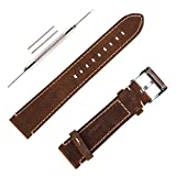Genunine Leather Watch Band Italian Calfskin Handmade Watch Strap with Stainless Steel Bucklle for Men (20mm, Dark Brown)