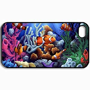 Customized Cellphone Case Back Cover For iPhone 4 4S, Protective Hardshell Case Personalized Clown Fish Black