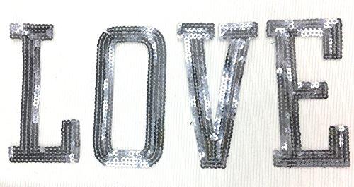 Decorative Initials Love Appliques Pewter Sequins (Gun Metal) Iron on Applique Patches-5'' (1 Pack)