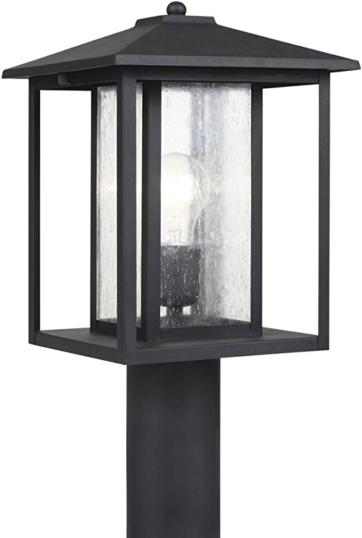 Sea Gull Lighting 82027 12 Hunnington One Light Outdoor Post Lantern Outside Fixture Black