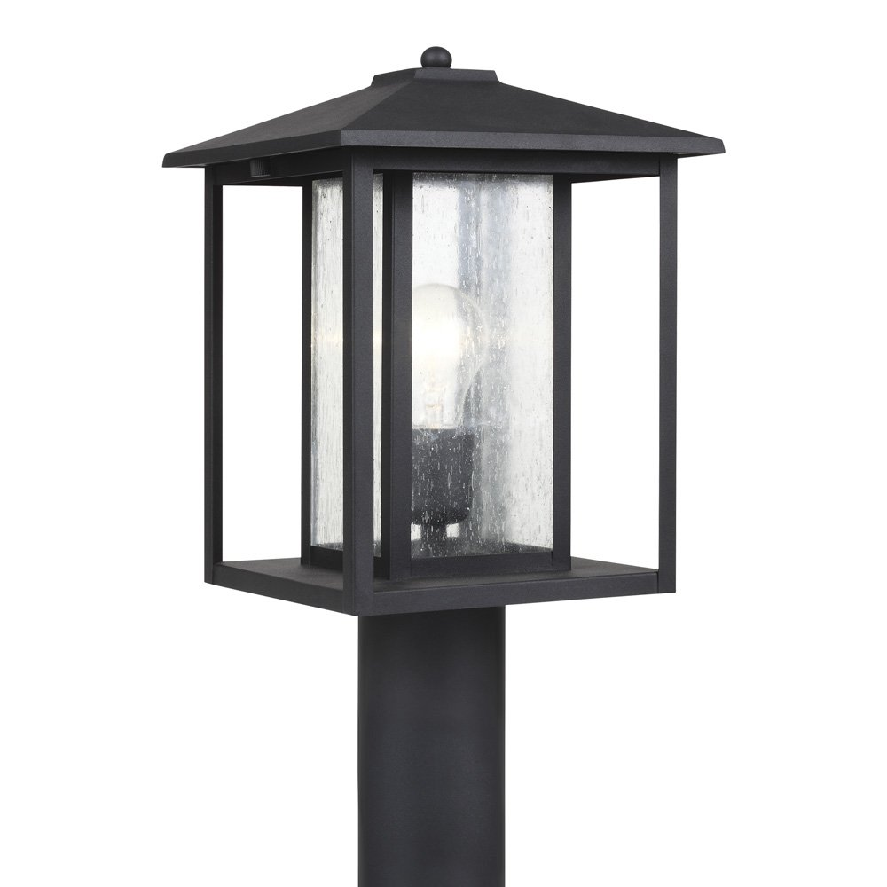 Sea Gull Lighting 82027-12 Hunnington One-Light Outdoor Post Lantern with Clear Seeded Glass Panels, Black Finish