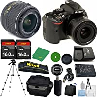 Nikon D5200 24.1 MP CMOS Digital SLR, NIKKOR 18-55mm f/3.5-5.6 Auto Focus-S DX VR, 2pcs 16GB ZeeTech Memory, Camera Case