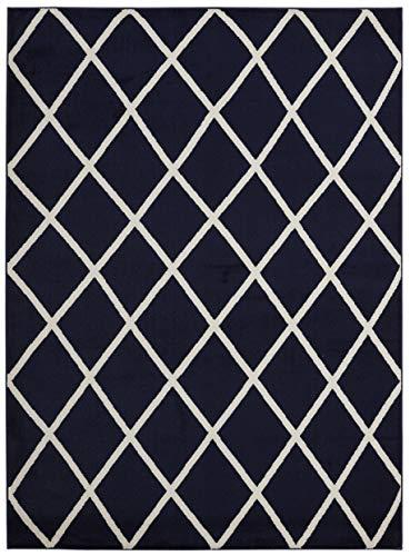 Diagona Designs Contemporary Moroccan Trellis Design, 8 by 10 Area Rug, 94 W X 114 L, Navy/Ivory