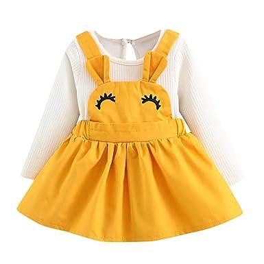 Conjuntos para Bebé Niñas Mangas Largas Otoño 2018 Moda PAOLIAN Camisetas Manga Largas + Vestido Estampado Ropa para recién Nacidos Niñas Faldas de Tirantes ...