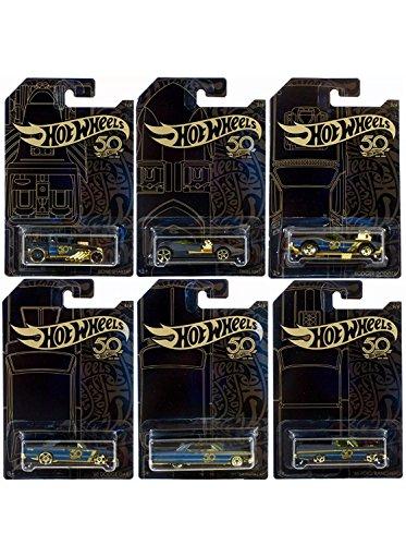 Hot Wheels Twin Mill (New 1:64 Hot Wheels 50th Anniversary Black & Gold Collection - Bone Shaker, Twin Mill, Rodger Dodger, Dodge Dart, Impala & Ford Ranchero Set of 6pcs Diecast Model Car By HotWheels)