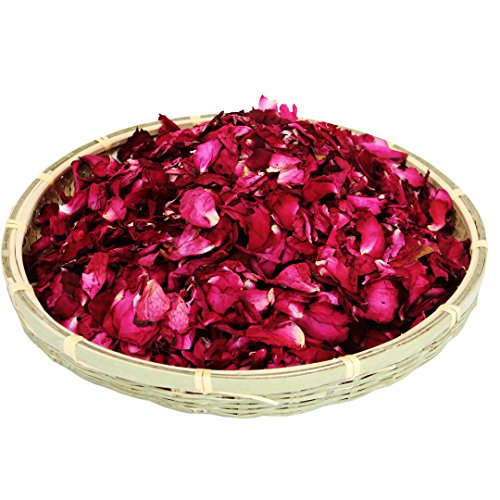 (Dried natural real red rose flower petals for Wedding party decoration Wedding Table Confetti Pot Petal flower bath Gift box fill body wash foot wash,Romantic night Potpourri Bath Salts)